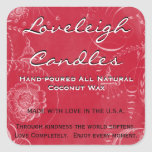 Loveleigh Custom Product Labels Holiday Red White Square Sticker
