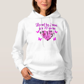 LOVELY 70TH BIRTHDAY PINK FLORAL PHOTO DESIGN HOODIE