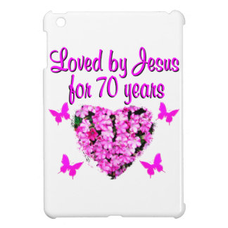 LOVELY 70TH BIRTHDAY PINK FLORAL PHOTO DESIGN iPad MINI CASE