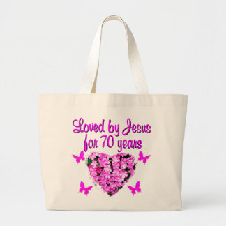 LOVELY 70TH BIRTHDAY PINK FLORAL PHOTO DESIGN LARGE TOTE BAG