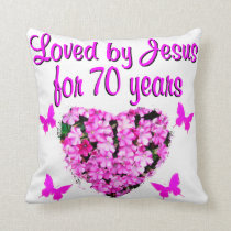 LOVELY 70TH BIRTHDAY PINK FLORAL PHOTO DESIGN THROW PILLOW