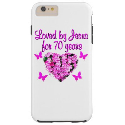 LOVELY 70TH BIRTHDAY PINK FLORAL PHOTO DESIGN TOUGH iPhone 6 PLUS CASE