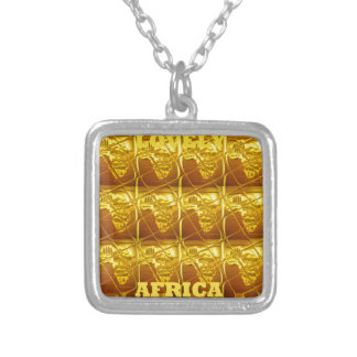 Lovely Africa Africa Maps designs Art colors. Silver Plated Necklace
