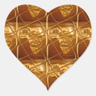 Lovely Africa Africa Maps designs Golden colors.pn Heart Sticker