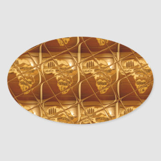 Lovely Africa Africa Maps designs Golden colors.pn Oval Sticker
