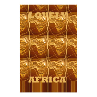 Lovely Africa Africa Maps designs Golden colors.pn Stationery