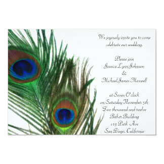 "Lovely and Elegant White Peacock Wedding 5"" X 7"" Invitation Card"
