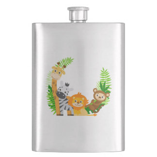 Lovely animals with palm leaves flask