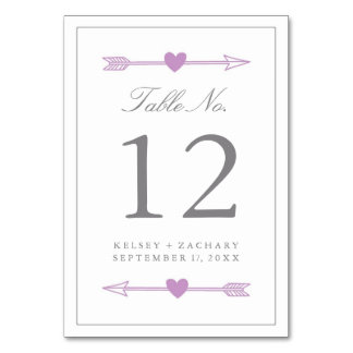 Lovely Arrows Table Number Card / Lilac and Gray