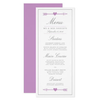 Lovely Arrows Wedding Dinner Menu / Lilac and Gray Card