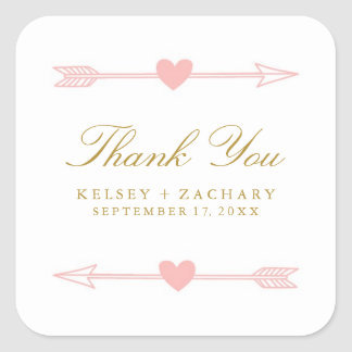 Lovely Arrows Wedding Favor Stickers / Blush Gold
