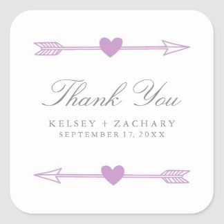 Lovely Arrows Wedding Favor Stickers / Lilac