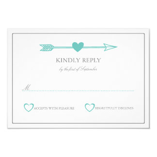 Lovely Arrows Wedding RSVP Card / Teal & Gray