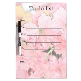 Lovely artistic sketch pink cherry blossom flowers dry erase board