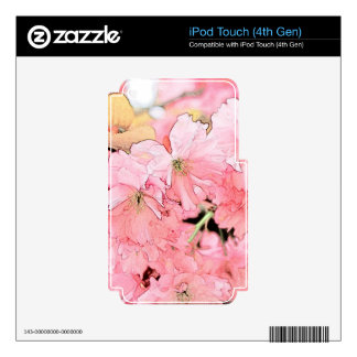 Lovely artistic sketch pink cherry flowers gift. skins for iPod touch 4G