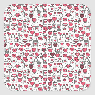 Lovely Assorted Hearts and Icons Sticker Seal