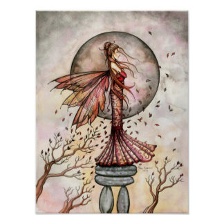 Lovely Autumn Fairy Poster Print by Molly Harrison