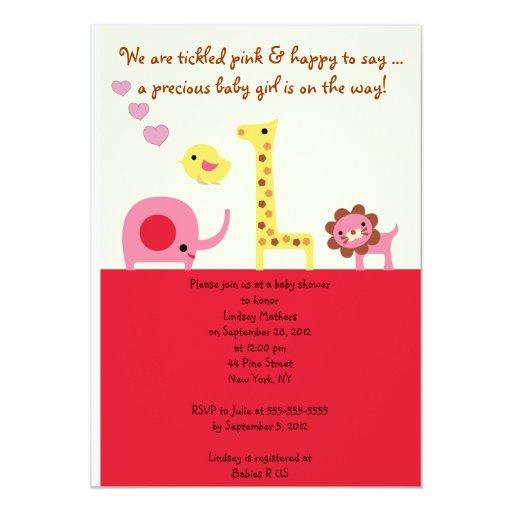 Lovely Baby Girl Shower Personalized Invitation