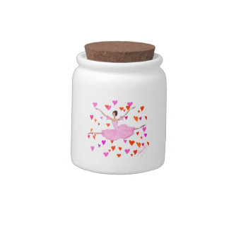 Lovely Ballerina in Pink Tutu and Colorful Hearts Candy Dish