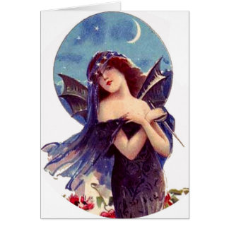 Lovely Bat Fairy Lady Vintage Art Nouveau Add Text Greeting Card
