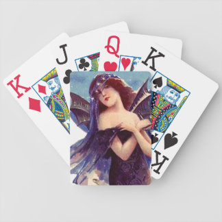 Lovely Bat Lady Fairy Art Nouveau Vintage Art Bicycle Playing Cards