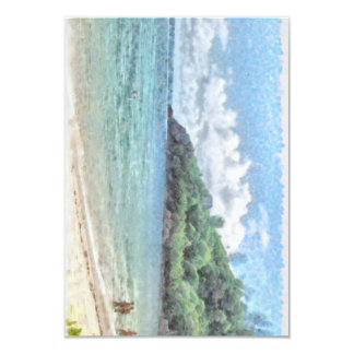 Lovely beach in the Seychelles in the Indian Ocean 3.5x5 Paper Invitation Card