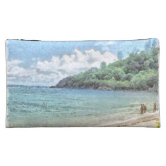 Lovely beach in the Seychelles in the Indian Ocean Makeup Bags