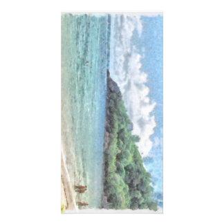 Lovely beach in the Seychelles in the Indian Ocean Photo Card