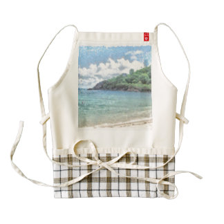 Lovely beach in the Seychelles in the Indian Ocean Zazzle HEART Apron