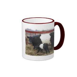 Lovely Beltie Cow and Calf Ringer Coffee Mug