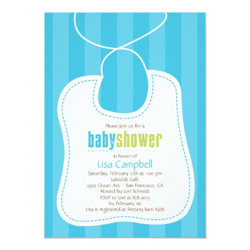 "Lovely Bib Baby Shower Invitation 5"" X 7"" Invitation Card"