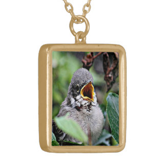 lovely bird gold plated necklace