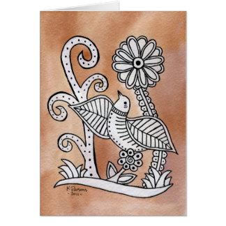 Lovely Bird, Mexican Bark Style Greeting Card