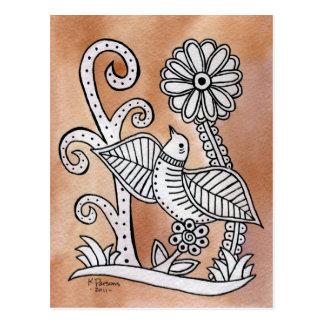Lovely Bird, Mexican Bark Style Postcard