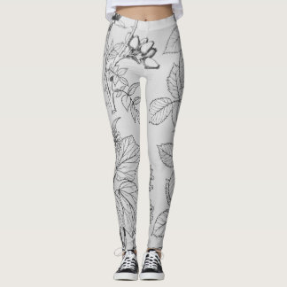 Lovely black and white etchings of leaves and pods leggings