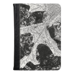 Lovely Black And White Leaf Design Kindle Case at Zazzle