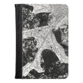Lovely Black and White Leaf Design Kindle Case