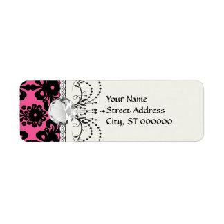 lovely black damask on bright pink chic label