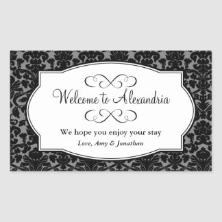 Lovely black damask pattern out of town gift bag rectangular sticker