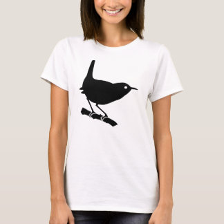 Lovely Black Wren Bird On a Branch T-Shirt