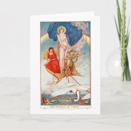 Lovely Blank Chariot Of Freya Rainbow Goddess Card