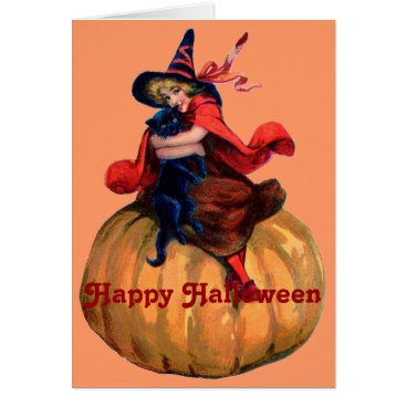 Halloween Themed Lovely Blonde Witch with Black Cat Card