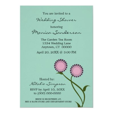 Lovely Blooms Wedding Shower Invitation. Purple 5x7 Paper Invitation Card