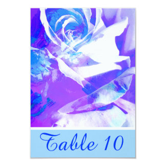 Lovely Blue Abstract Rose Table Number Card