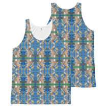Lovely Blue Bunny Rabbit Floral Women's Tank Top
