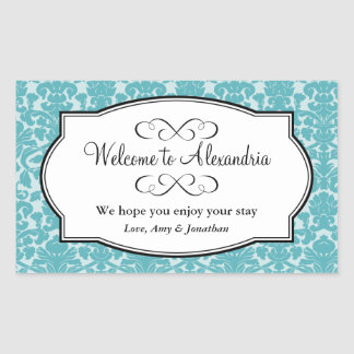 Lovely Blue damask pattern out of town gift bag Rectangular Sticker