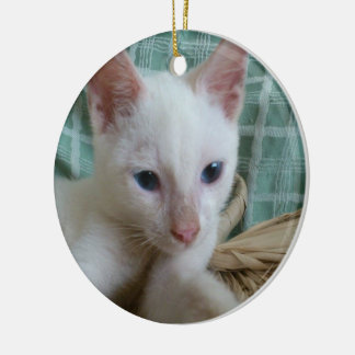 Lovely Blue Eyed Cat - Round Ornament