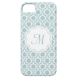 Lovely blue flower phonecase with your monogram iPhone SE/5/5s case