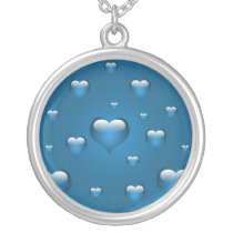 lovely blue hearts silver plated necklace