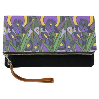 Lovely Blue Iris Flowers Floral Abstract Art Clutch
